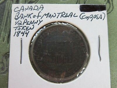 1844 PC-1B6 Province Of Canada Canadian 1/2 Penny Bank Of Montreal Token