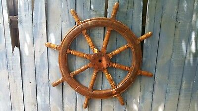 Huge Antique 44'' 8 Spoke Wood and Metal Ship's Wheel. Heavy 59.4 lbs.