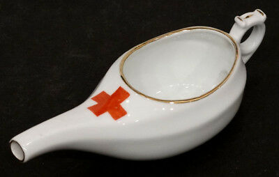 Antique INVALID FEEDER German PAP BOAT Sick Cup WW1-Era RED CROSS HOSPITAL