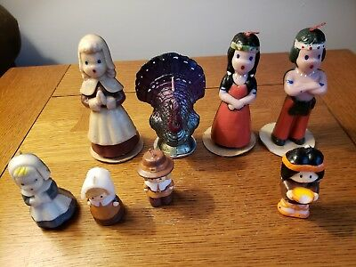 Lot of 8 Vintage Thanksgiving Candle Decorations