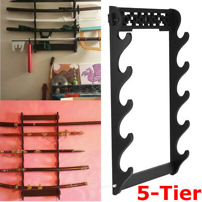 5 Tier Sword Holder Wall Mount Samurai Stand Display Katana Wall Hanger Rack UK