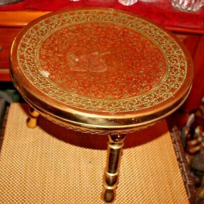 Vintage India Middle Eastern Footed Hot Plate Cooking Vessel Seat-Engraved