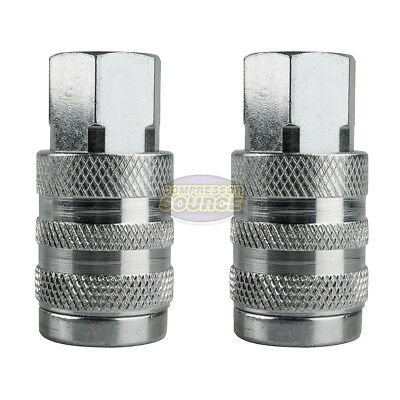 "2 Industrial Style Steel 1/4"" FNPT Air Compressor Quick Couplers 6 Ball Bearing"