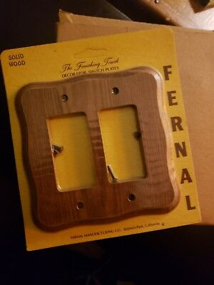 NOS LOT OF 5 NEW Solid Wood Double Toggle Light Switch Cover Plate w Hardware #4