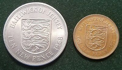 Bailiwick Of Jersey Lot 2 Coins Collection 1 10 Penny Pence Uk United Kingdom