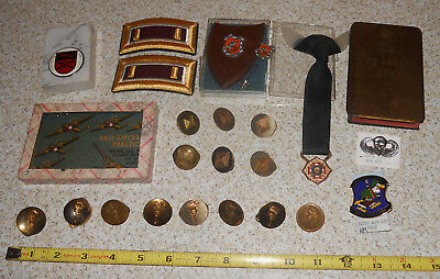 US Military Lot of Vintage Military Items Pins Paper Weight Gold Plate Bible NT