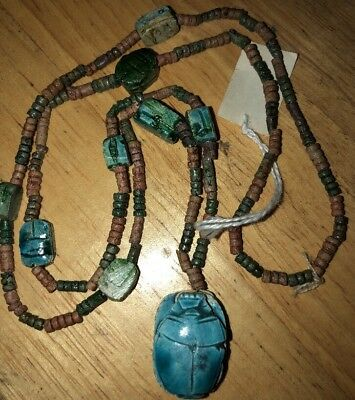 Vintage Chunky Carved Egyptian Scarab Turquoise Stones Beads Pendant Necklace