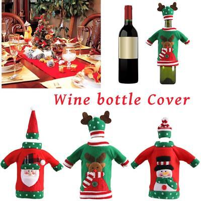 Embroidery Red Wine Champagne Bottle Cover Dinnner Table Party Christmas Decor