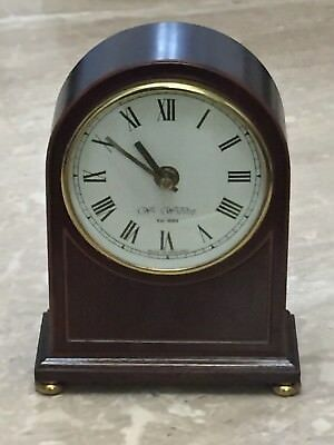 "Vintage Arch Style ""Wm Widdop"" Mantel Clock In Fine Mahogany Polished Wood"