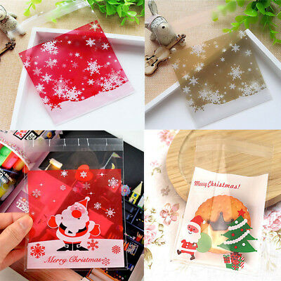 100pcs Christmas Self Adhesive Plastic Gift Bags Candy Cookies Pouches 10x10cm