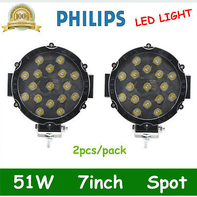 2X 7inch 51W Round Led Work Light Spot Off Road SLIM Bumper Driving 12V24V BLACK