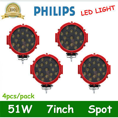 4X 7inch 51W Round LED Work Light SPOT Offroad Fog Driving 4WD Boat Jeep ATV Red