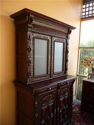 Antique Carved Bookcase Cabinet early1900s      resawreck-antiques