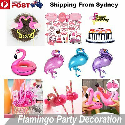 Flamingo Foil Helium Balloon Cake Topper Straw Beach Booth Props Cup Holder Swim