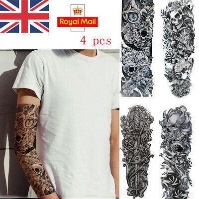 4pcs Removable Extra Large Flower Temporary Tattoos Sticker Full Arm 3D Men UK