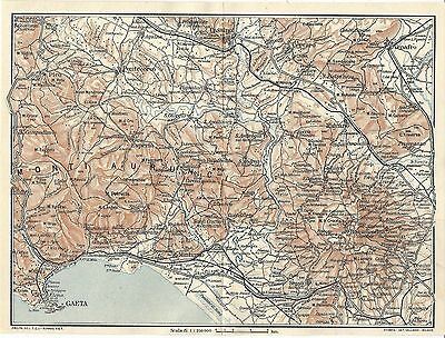 Carta geografica antica MONTI AURUNCI ROCCAMONFINA TCI 1928 Old antique map