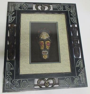 Vintage Tribal Shadow Box 3D Timber Glass Frame with Crafted Mask PU Sydney