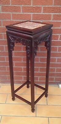 Chinese Furniture Antique  Carved Rosewood  Plant Stand Marble Top 36 Ins Tall