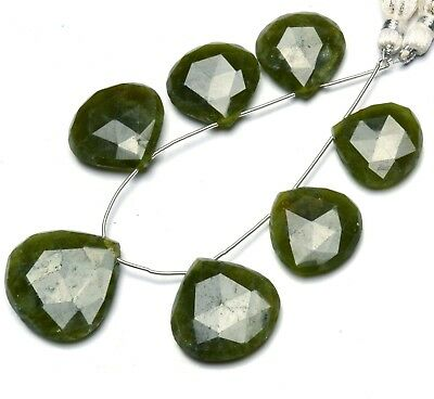 Natural Gemstone Serpentine Faceted 20 to 28MM Big Size Heart Shape Beads 7""