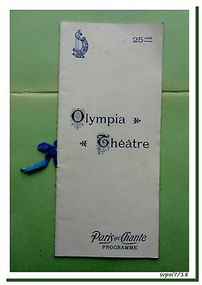Ancien Programme OLYMPIA THEATRE - 1904