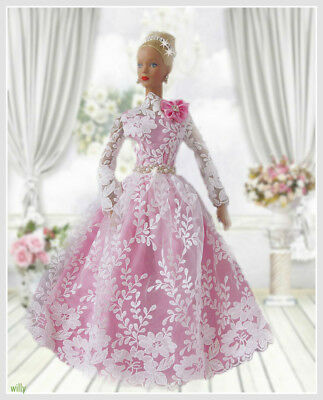 """Very Fancy Dress In Pink Satin /white Lace  With Pretty Belt /hairband Ooak """"16"""