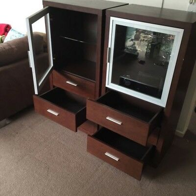 2 dark brown display, media cabinets with drawers