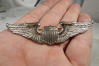 WWII British Made US Army Air Corps Force Pilots Badge 3 Inch