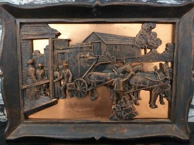 Vintage 3D brass and Metal Wall Hanging 'Travelers Rest'