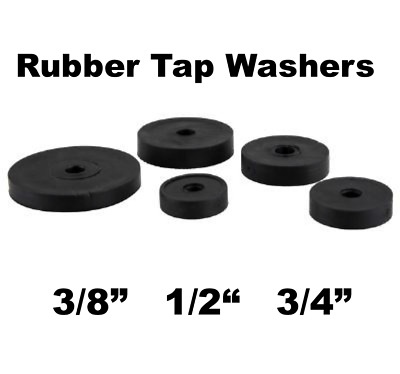 "Rubber Flat Tap Washers for Sink or Bath Taps Sizes 3/8"" 1/2"" 3/4"" Pack of 10"