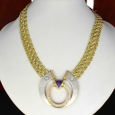 Wert 6.950,- Edle Collier Kette 585 & 750 Gold & 900 Platin 0,60 Ct Brillanten