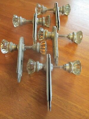 5 Pairs Vintage 1930s Art deco glass Door Knobs