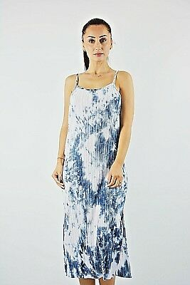 bb25701527389d New Ex Topshop Blue and White Tie Dye Pleated Strappy Midi Slip Dress Size  10-