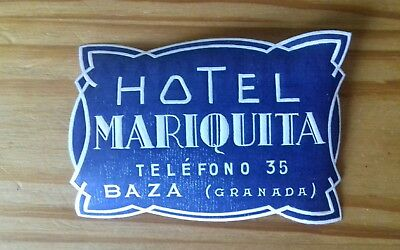 Ancienne étiquette Hotel Mariquita Granada old luggage label hotel bagage