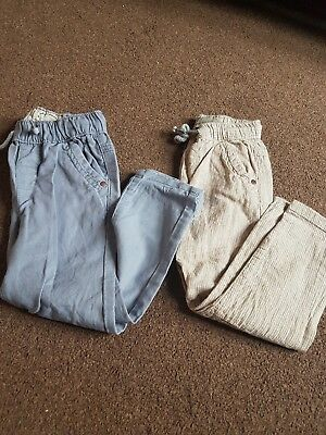 2 Pairs Of Boys Linen Next Trousers Aged 2-3 Years