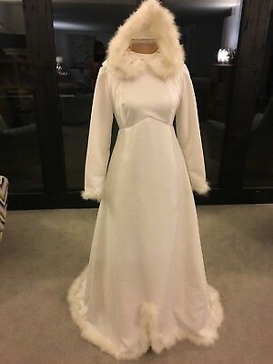 Vintage White Wedding Dress Feather Edged with Hood. Great for a Winter Wedding