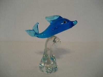 Blue Glass Dolphin on Clear Wave Figurine