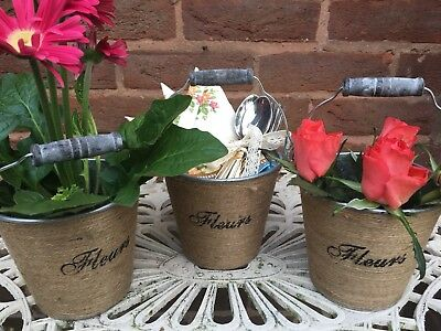 Set of 3 Shabby Chic Table Centre Piece Mini Buckets Ideal For Wedding Favours
