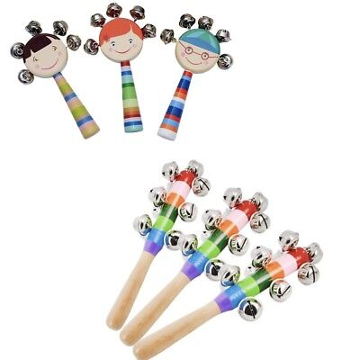 Baby Kids Rainbow Wooden Handle Bell Jingle Stick Shaker Rattle Toys UK Stock