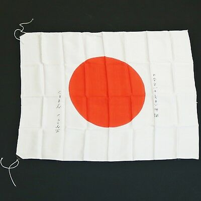 "Vtg Japan Japanese Meatball Silk Flag  27"" x 36"", 1940s War Signed"