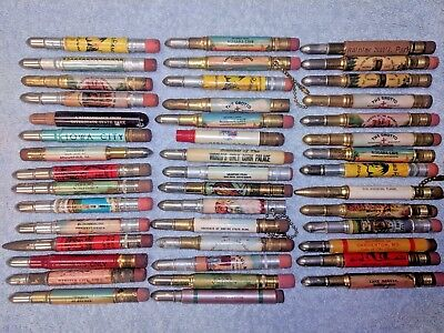 Vintage LOT OF 44 Advertising SOUVENIR BULLET PENCILS Tourist Attraction Travel