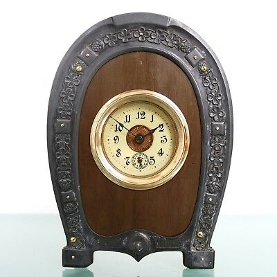 JUNGHANS Alarm Mantel Clock VERY RARE! Antique 1910s HORSESHOE Germany RESTORED!