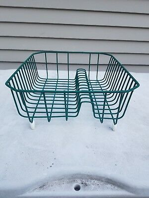 Vintage WIRE RUBBER COATED DISH DRAINER  Christmas Green Mid century Drying Rack