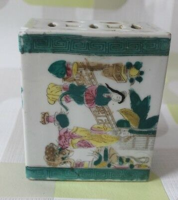 antique? chinese insence holder, decorated with figures, green, pink & yellow,