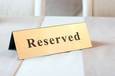 """F&M Gold 7'' - 1 1/2'' Plastic """"Reserved"""" Sign Table - Double - Sided"""
