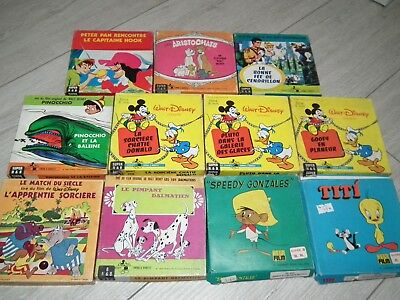 lot de 11 anciens films 8mm N&B B&W DISNEY TITI CENDRILLON PINOCCIO PETER PAN