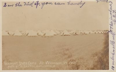 1907 RPPC VERMONT State Camp at WINOOSKI VT Lots of Tents Barker Photo