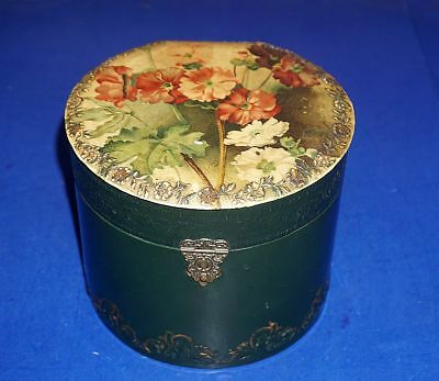 Antique Victorian Celluloid Collar  Box  With Colorful Flowers