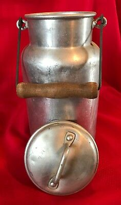 Old/Vintage Aluminum Coffee or Storage Container With Lid and Wooden Handle 11""