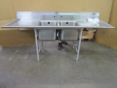 """Eagle 88""""x30"""" 2 Bay Compartment Stainless Sink W/drain Boards 24""""x17""""x13"""" Bowls"""