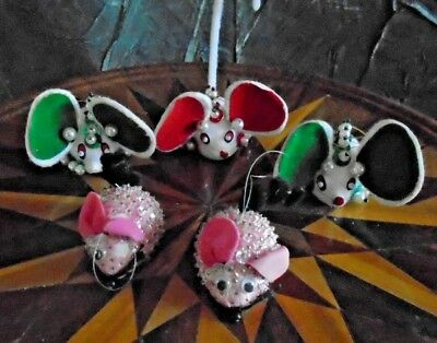 Lot Of 5 Vintage Mouse Christmas Ornaments Made From Kits